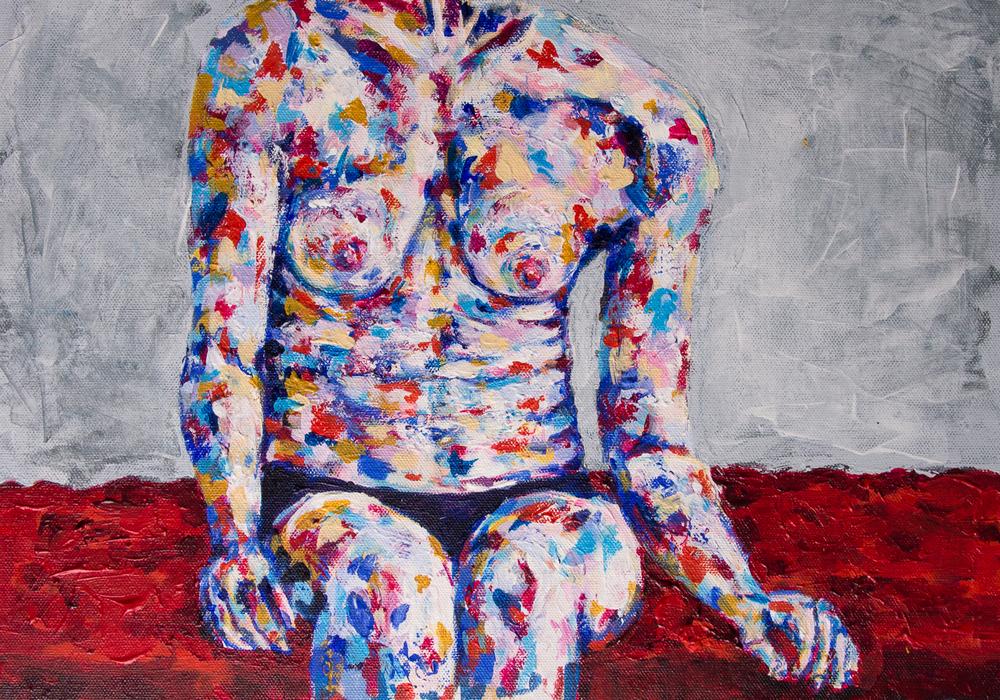 "Body Folds 2   12 x 16""  Acrylic on Canvas For Sale"