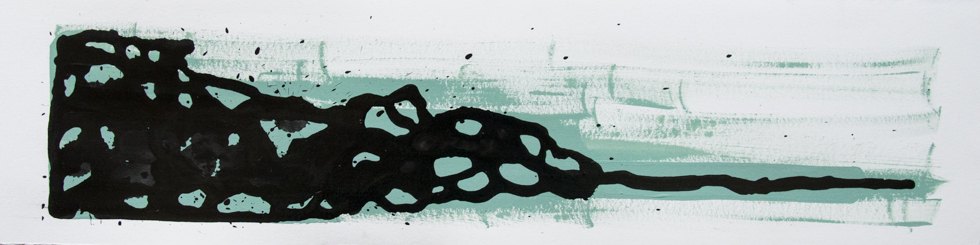 "Ink Drips 6 x 16"" Ink + Enamel on Paper"