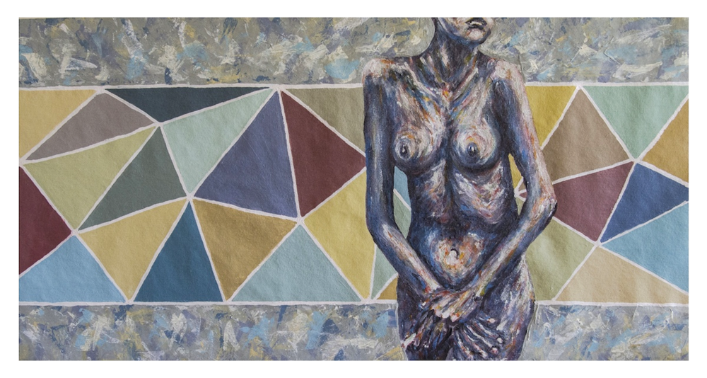 "Nude Triangles 20 x 40"" Acrylic on Canvas SOLD"