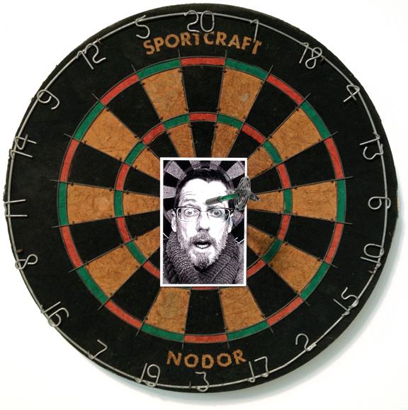 """My Third Eye Is A Bullseye"" mixed media, 13x13 in., 2013"