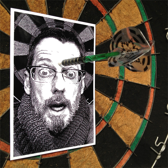 """My Third Eye Is A Bullseye ""  self-portrait, dartboard, dart   2013"