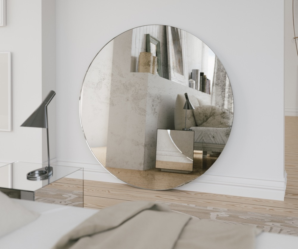 Antiqued Round Mirror