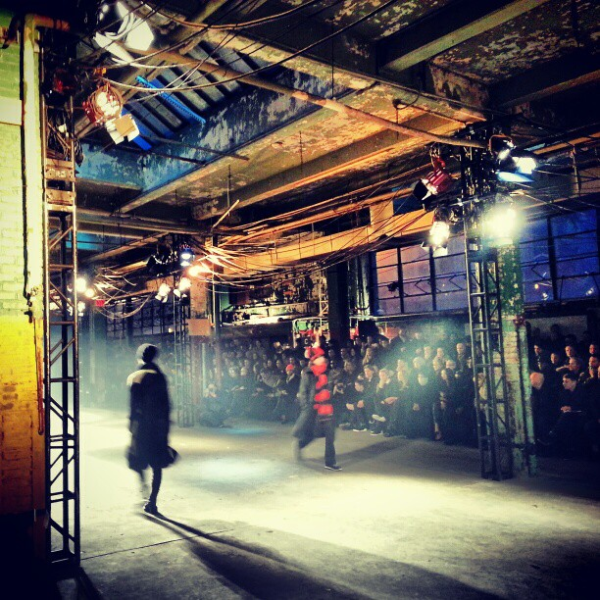 The killer backdrop at Y-3, a set worthy of a show.