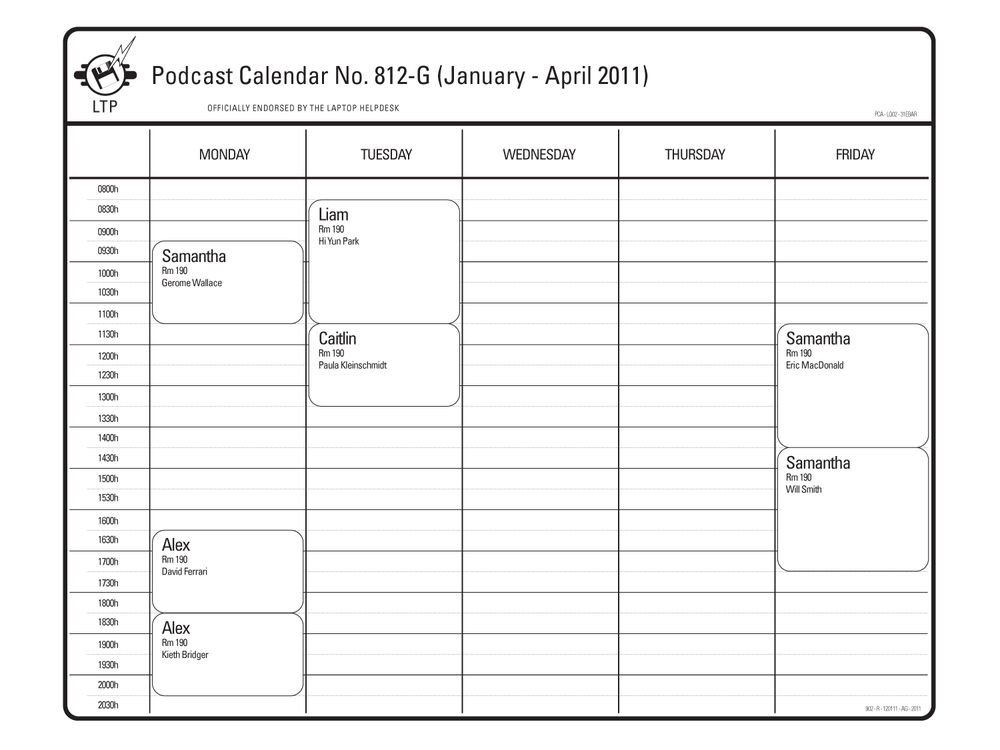 Podcast Calendar