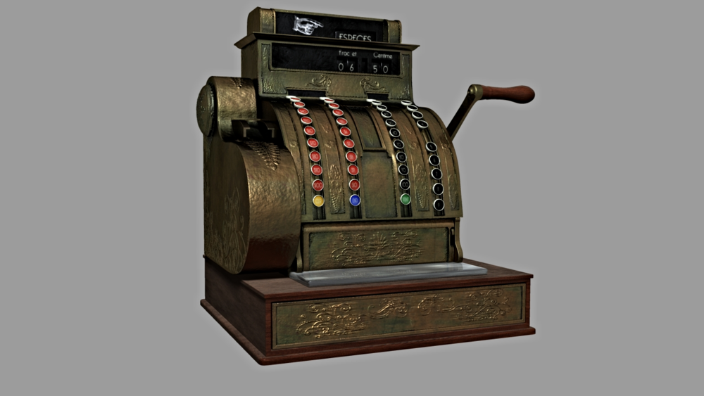 And old time cash register prop model that was to be used in a facial mo-cap student thesis film.