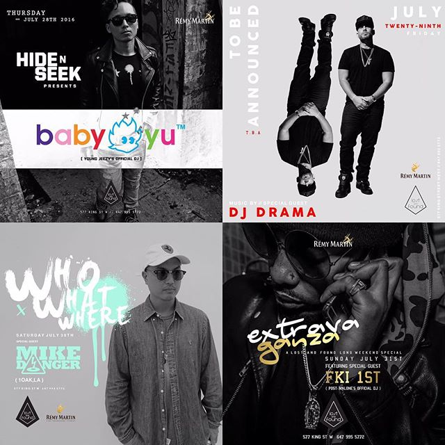 To everyone's who's been hitting me up about what to do this long weekend, here's the pre-Monday lineup!  We kick things off with my brother bear @djbabyyu (Jeezy's DJ) this Thursday. @djdrama on Friday. @mikey_danger from 1 Oak in LA on Saturday and @fki1st (Post Malone's DJ) on Sunday!  Don't make any day plans this weekend. You might not make it.  Big shouts to @remymartin !!! @lost577
