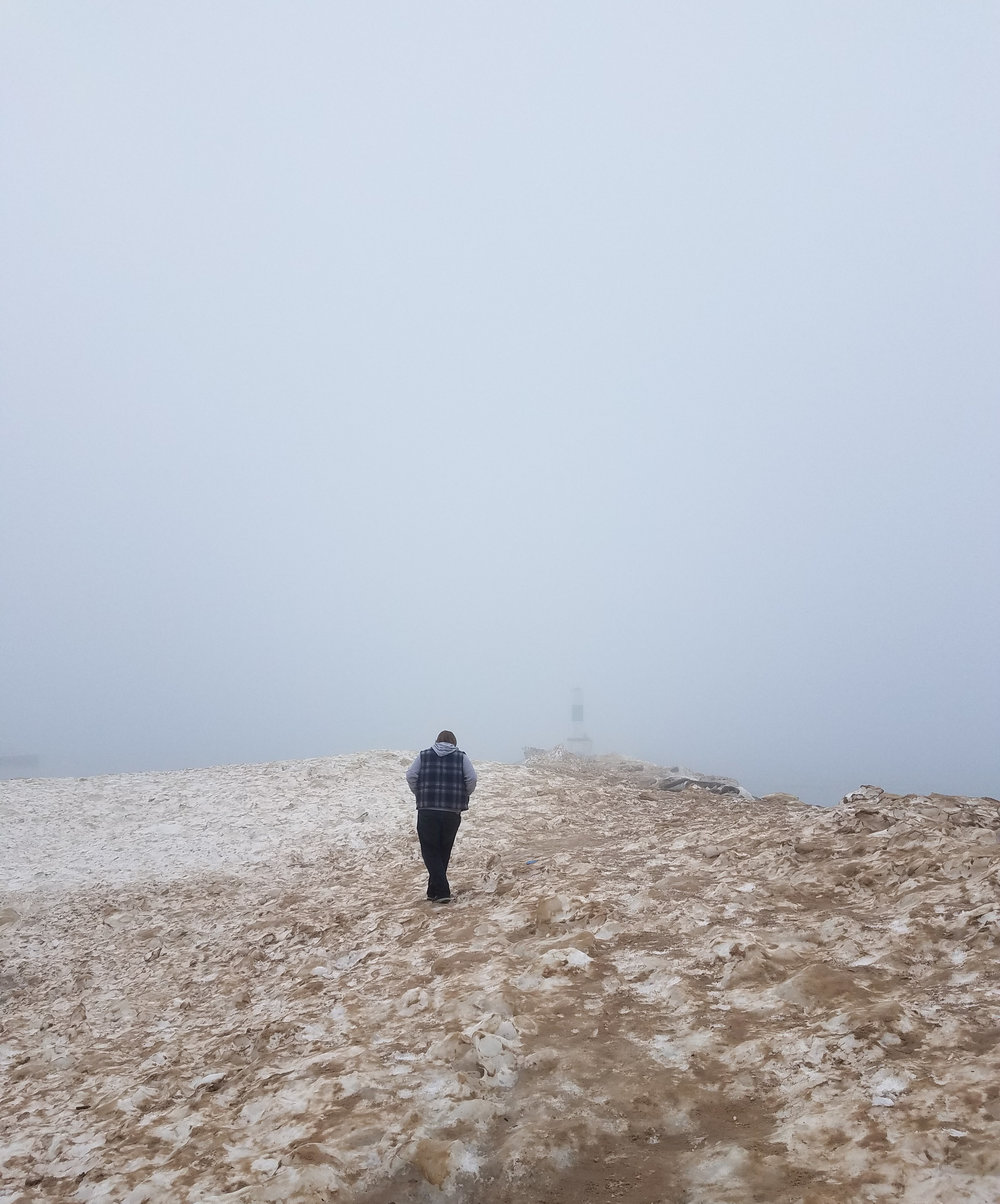 Foggy day at Holland State Park on Lake Michigan