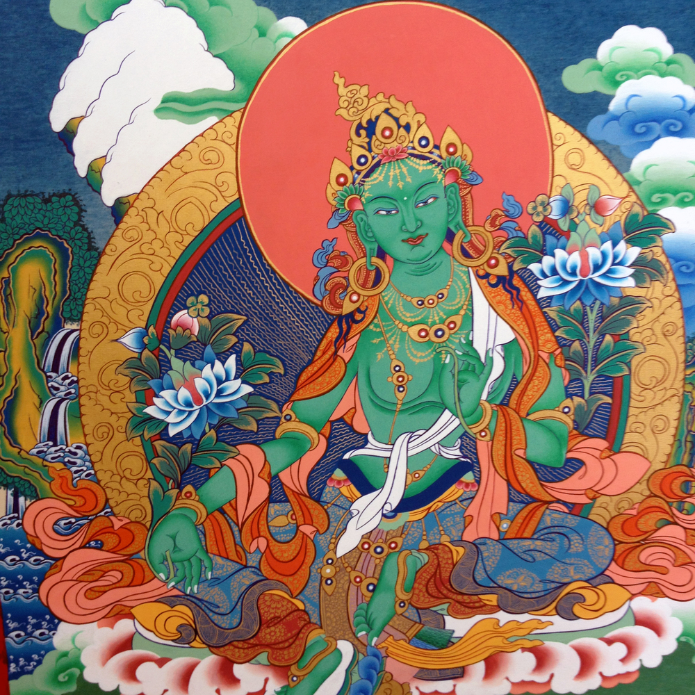 Green Tara. The smallest of these masterpieces take minimum 3 months to complete at 8 hours of work/day! The painting is set up by plotting diagonal, vertical and horizontal lines. Grids with proportions specific to each figure are penciled in and filled with the details. Background miscellanea like clouds and mountains are then added.