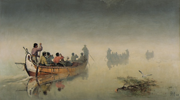 Canoes in a Fog, Lake Superior, 1869 Frances Anne Hopkins