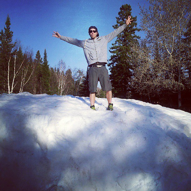 Scotty in a snow bank near Thunder Bay!