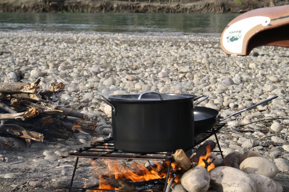 Boiling up some dinner on the North Sask River