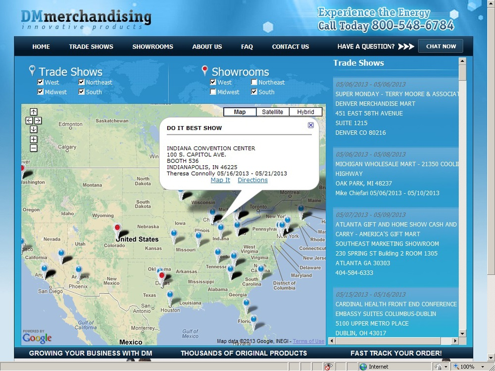 Trade shows map. Easy to use administrative interface is used to add/edit shows.