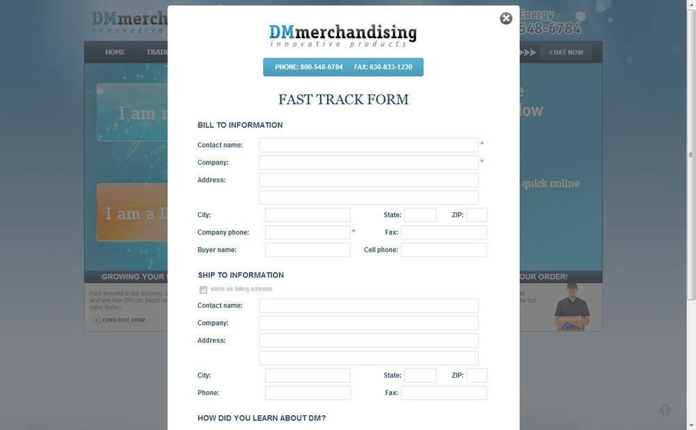 Registration form on public web site.