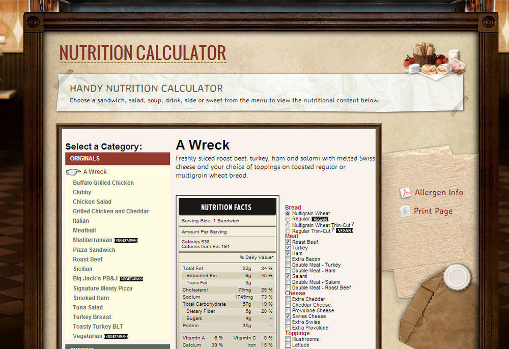 State of the art nutritional calculator designed and implement by WRP