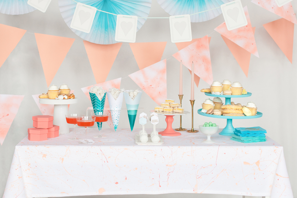 One of the party scenes featuring the Party Cones, Treat Toppers and Foil-stamped Napkins