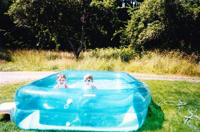 Classic summer. Leaking pool + cheesy googles = always a good time.