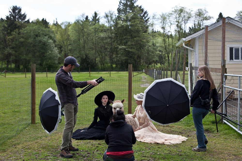 A quick behind-the-scenes shot snapped while assisting a fashion shoot on a farm in Port Townsend, WA while in school.