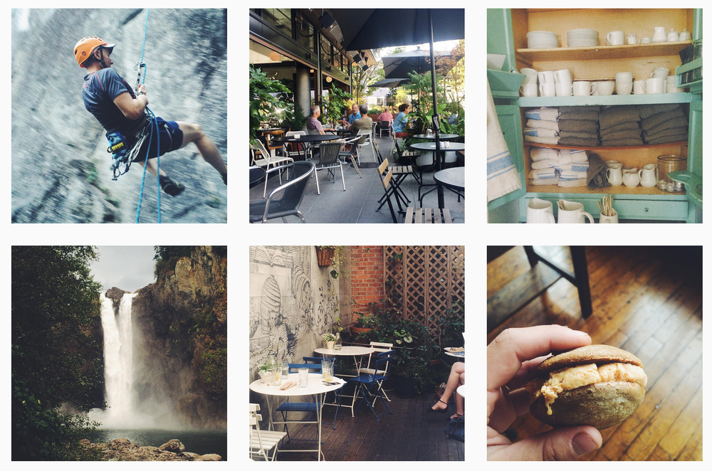 Free time climbing, brunching and hiking this past month. Business lunches, classes and food styling in the studio.