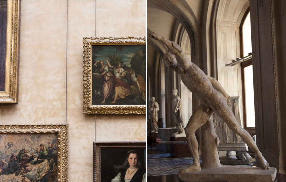 Inside the Louvre. Left, Italian Painters hall, right, Greek Antiquities room.