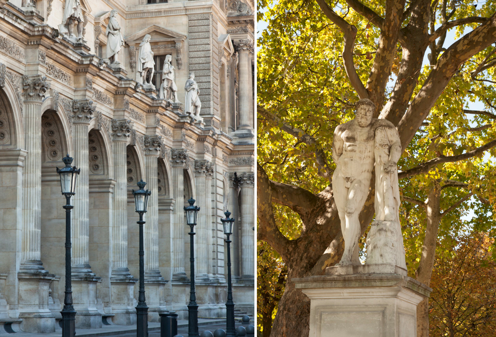 Courtyard in the Louvre, left. Statue of Hercules in the Jardins de Tuileries, right.