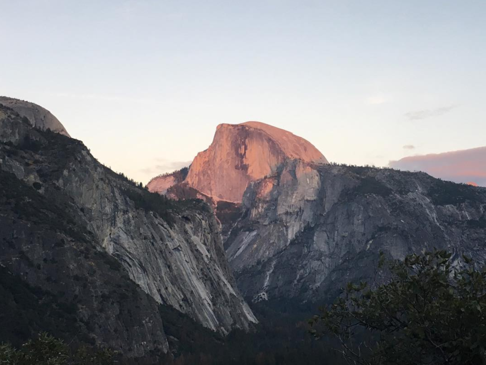 """Looking at half dome from a sweet route we climbed called """"Commitment."""""""