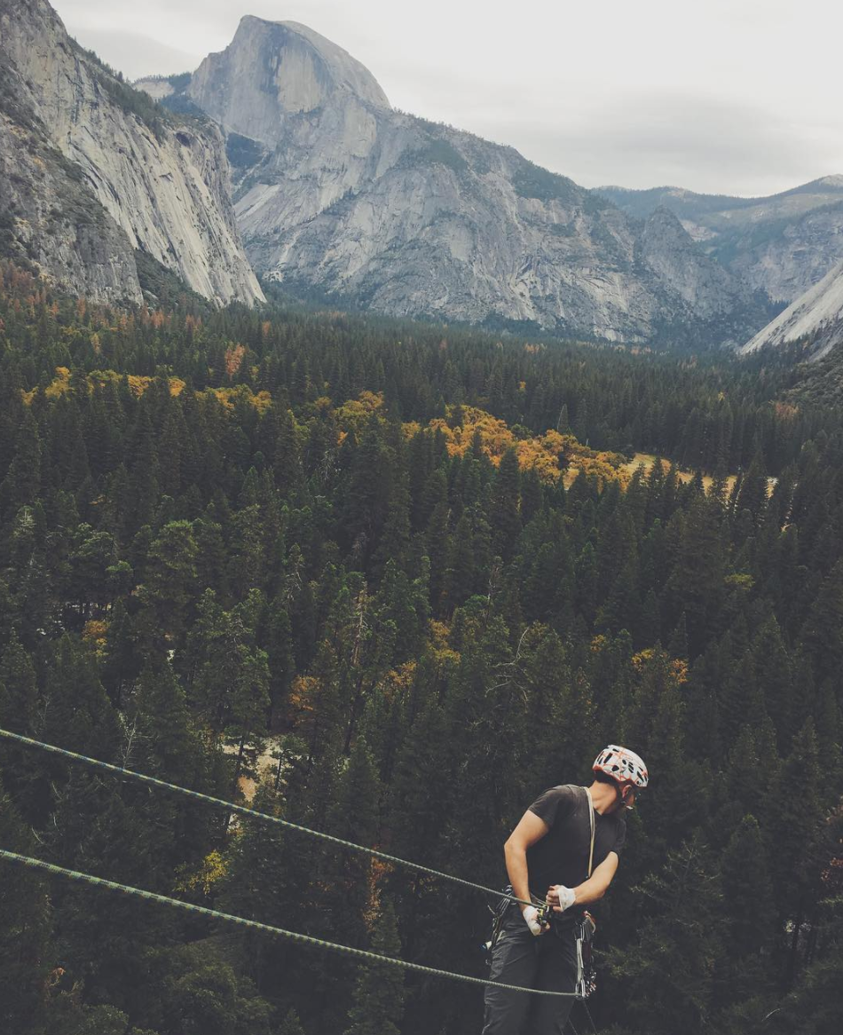 Jake rapping (rapelling), down a multi-pitch with more mind-blowing views.