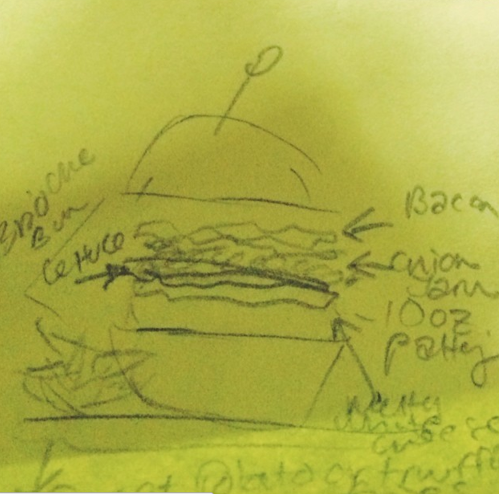A detailed burger drawing I drew specifying each part of the burger anatomically while planning a shoot for a magazine article on cozy cabin fare.