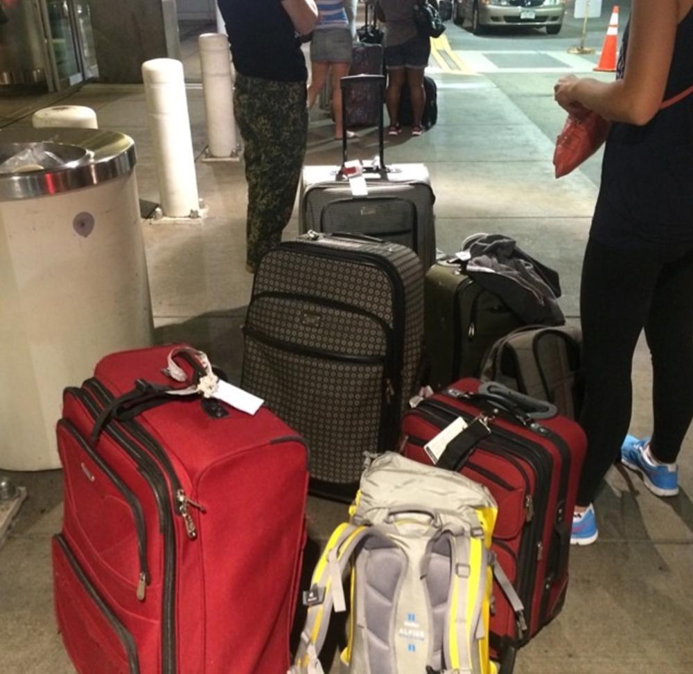 Bags & bags of props en route.
