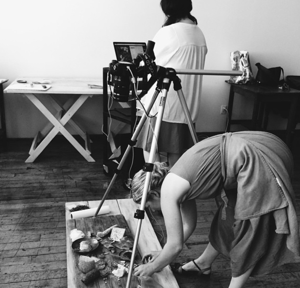 An image of food stylist Julie Hopper and photographer Clare Barboza on set.