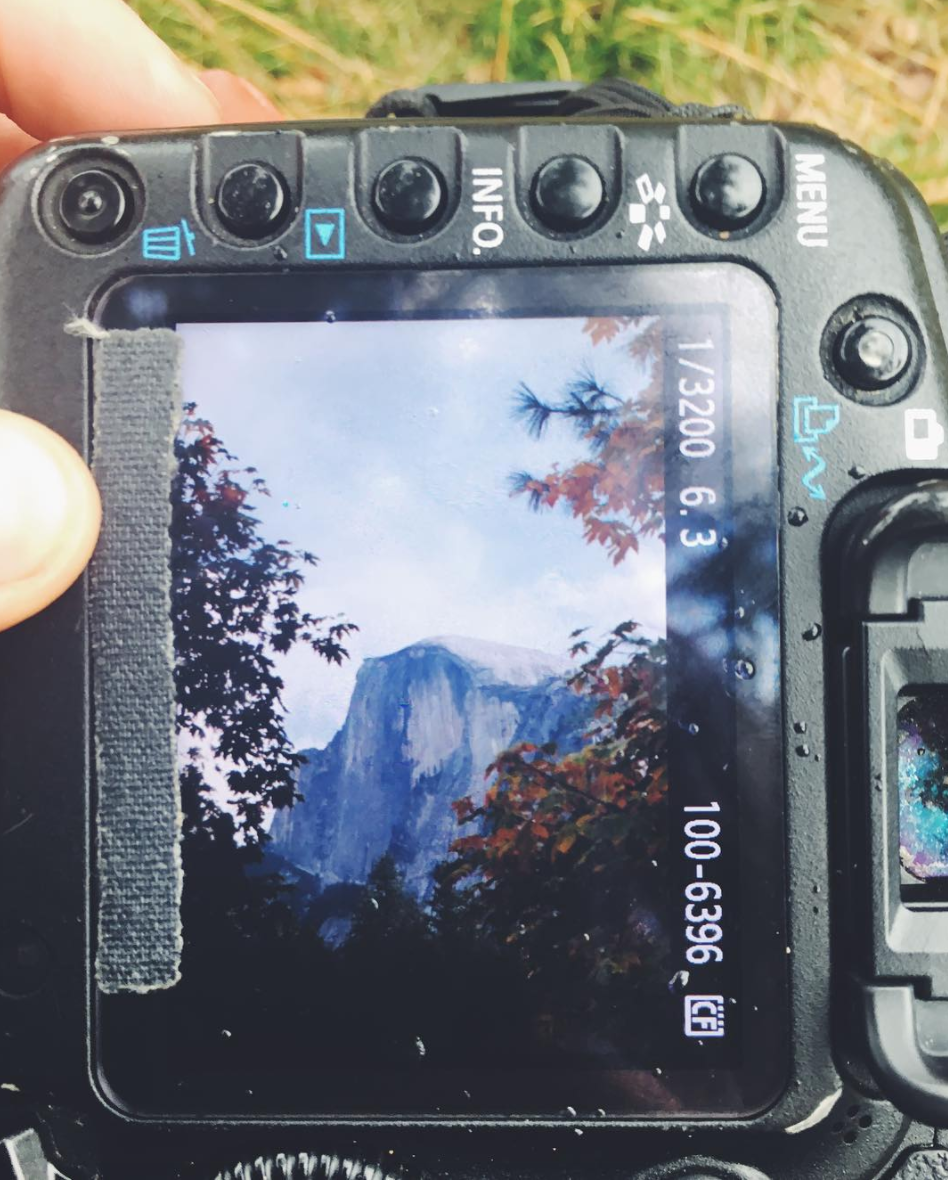 An Image of Half Dome in Yosemite National Park, shot on location and viewed on the back of my camera.