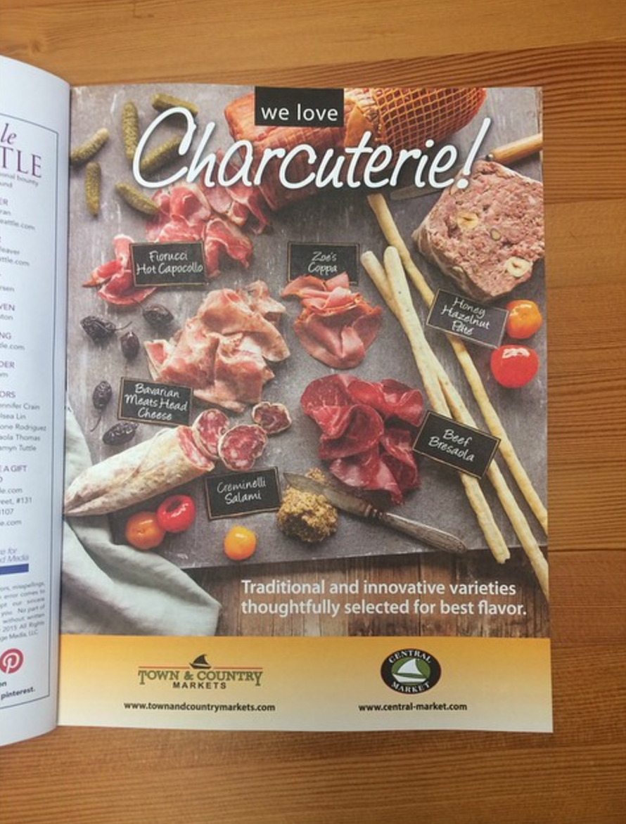 An Ad for Town & Country Markets in Edible Magazine featuring Charcuterie.