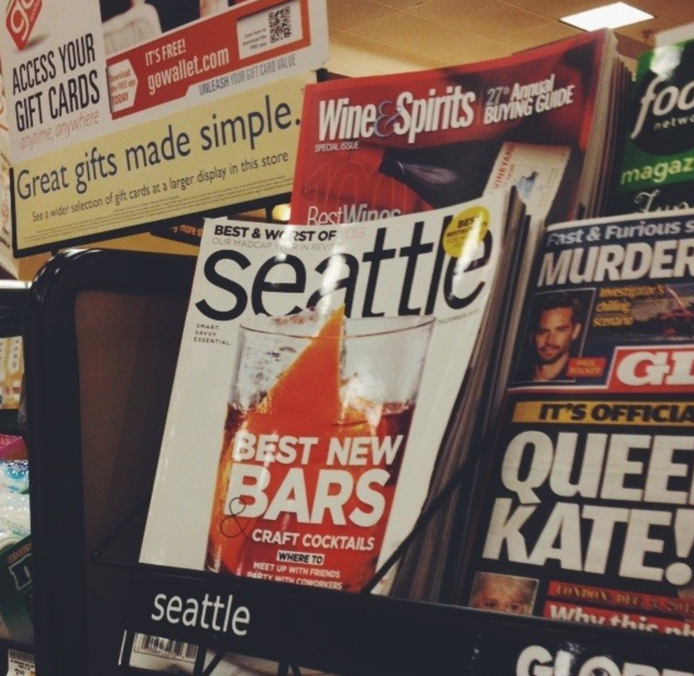 Seattle magazine with an article I shot inside on stands.