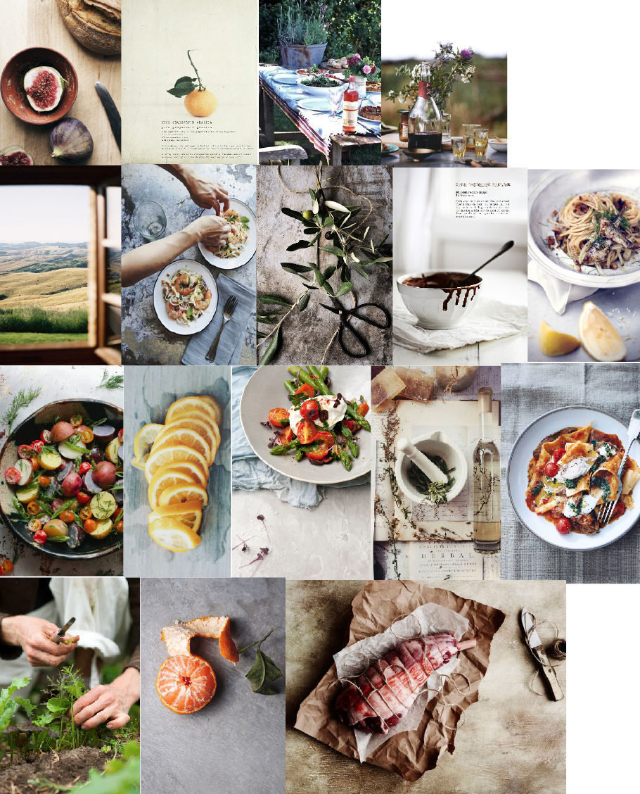 "A moodboard I created for an issue of Honest Magazine called ""Eataly."" All images come from my pinterest, sources are located there."
