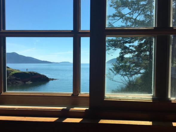 View out the window at Doe Bay Cafe.