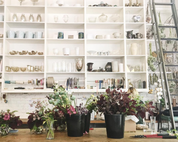 "The flower counter at Restaurant and flower shop ""The London Plane."""