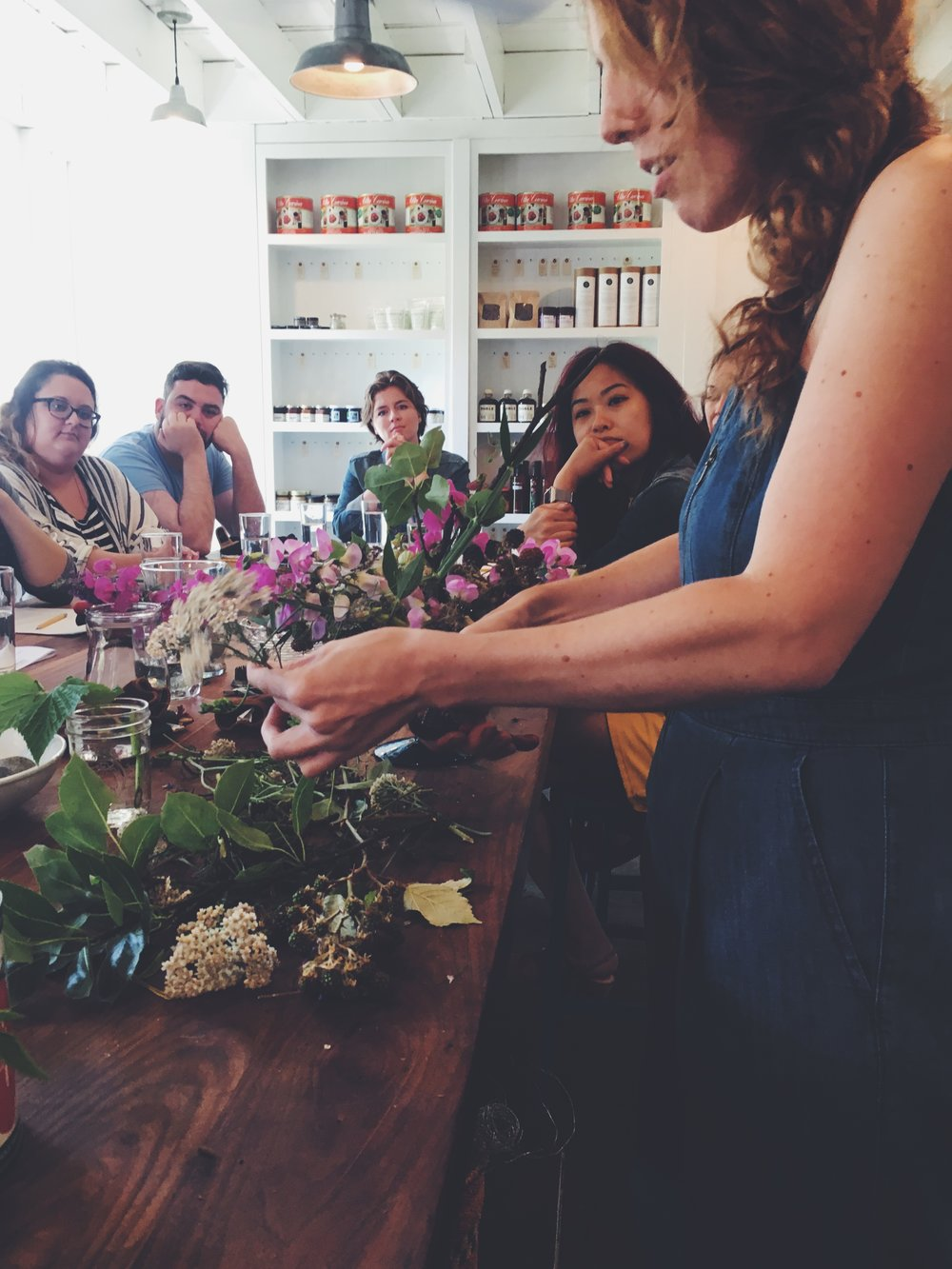 Renée showing us how to process wild flowers.