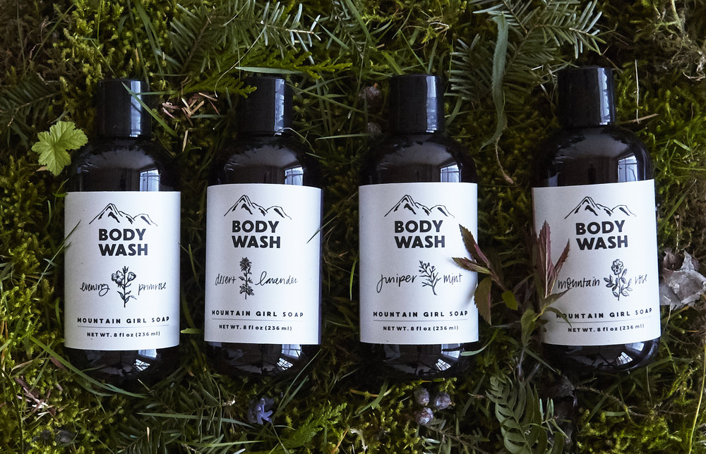 Mountain Girl Soap's line of body washes in evening primrose, desert lavender, juniper mint and mountain rose.