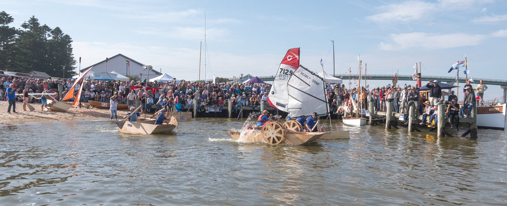 The mad plywood race, very professional and sadly no vessel sank!! won by the guys with the paddles  and  oars.