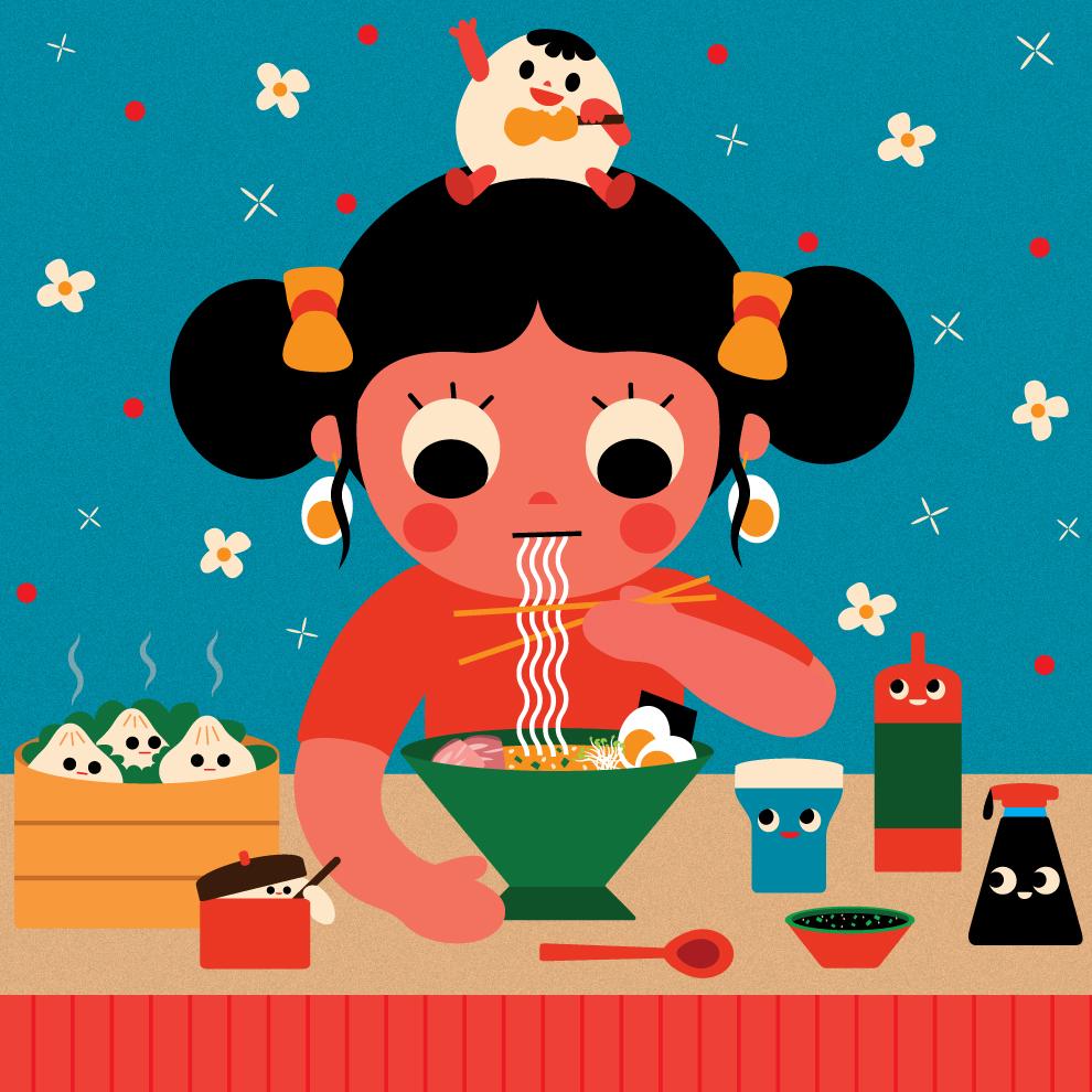 Girl Eating Noodles - Illustration by Uijung Kim