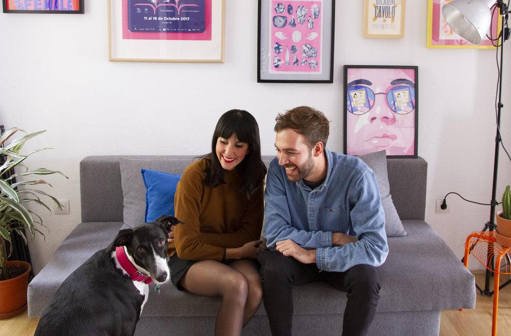 Palo, Manu and Rita (the dog). The team behind Estudio Santa Rita.