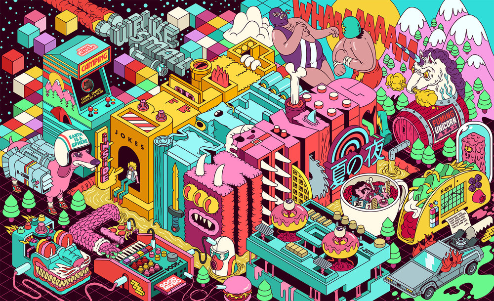 Belief In The Making - Mural Illustration by Dave Arcade