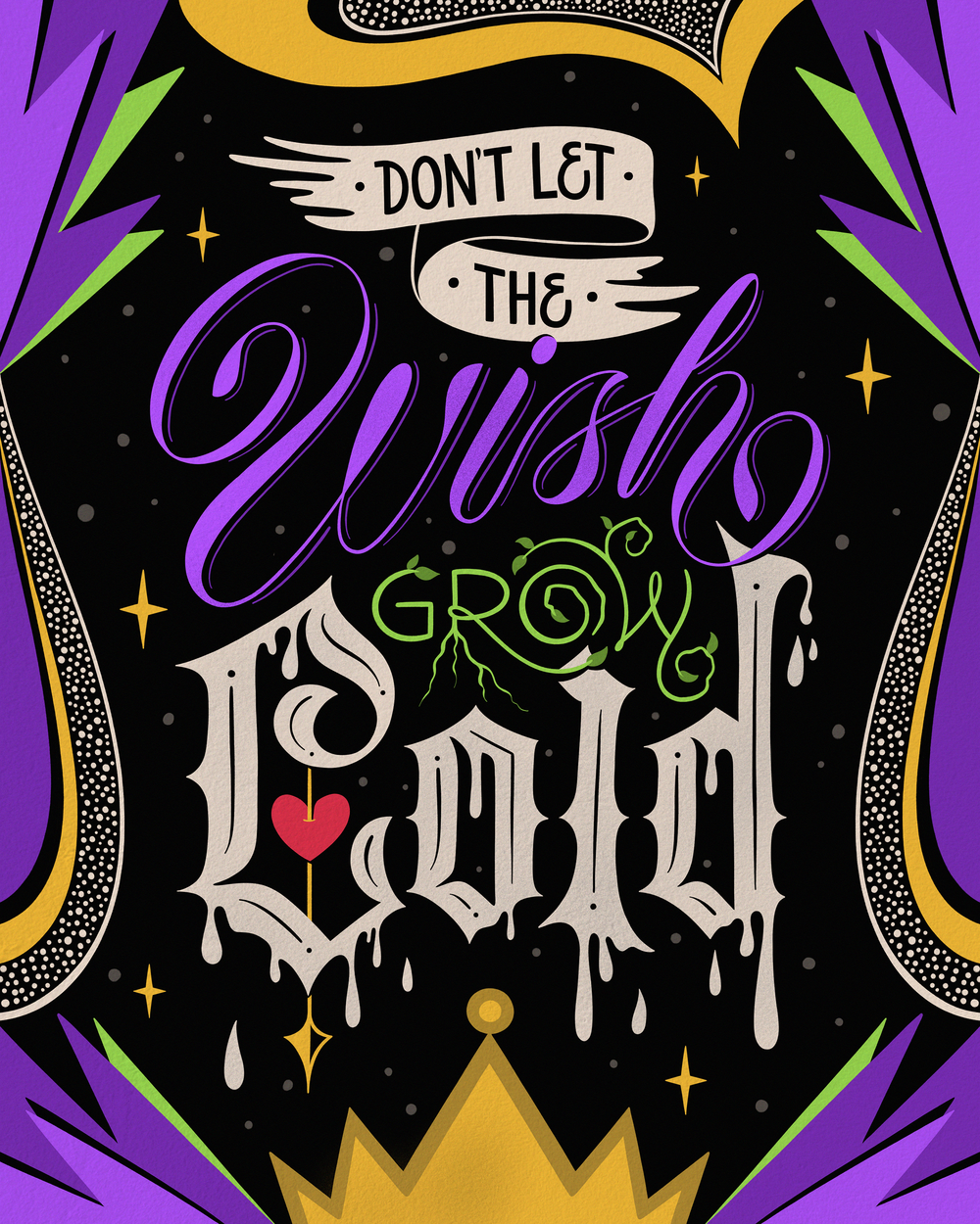 Lettering for Disney Villains campaign by Mel Cerri