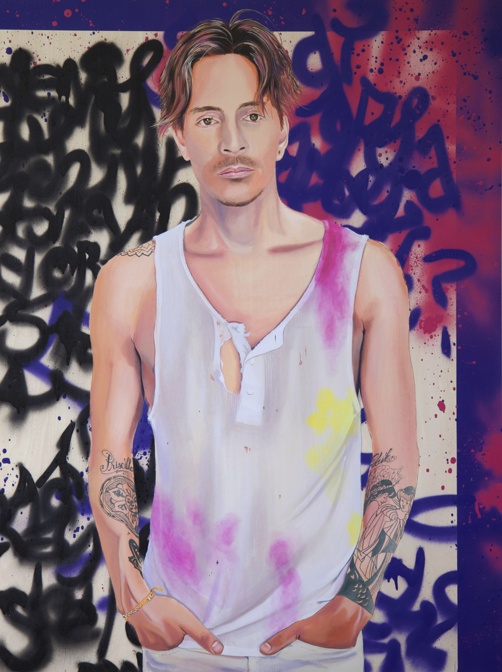 Brandon B, 2014, Acrylic and spray paint on wood panel