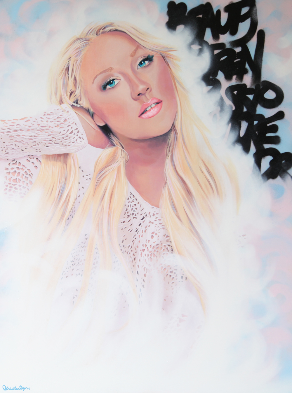 Xtina, 2014, Acrylic and spray paint on wood panel