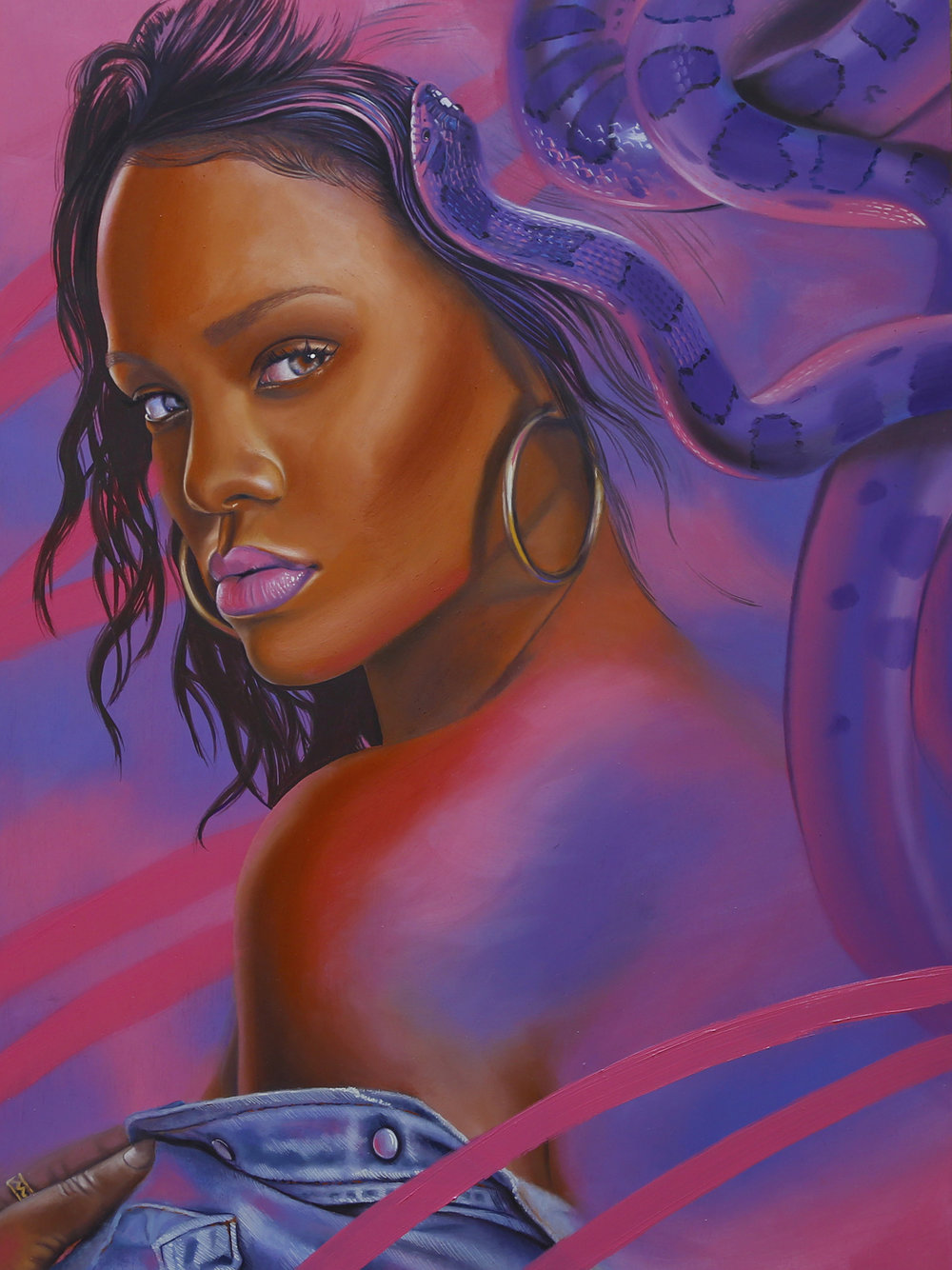 Rihanna, 2018, Oil on wood panel