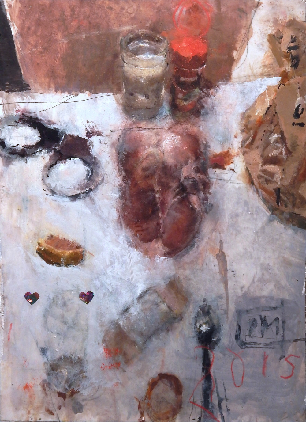 Still Life with Chicken, Handcuffs and Plastic Bag