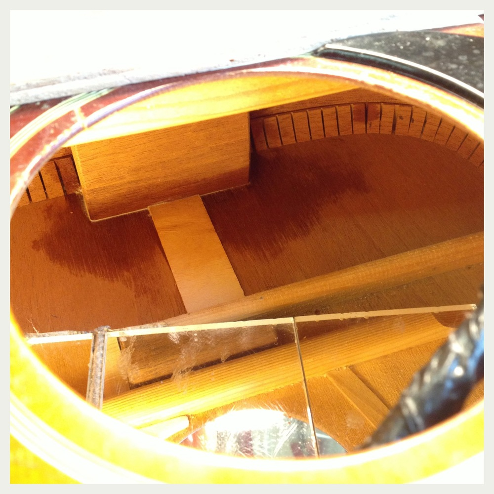 Re-glue acoustic guitar neck block