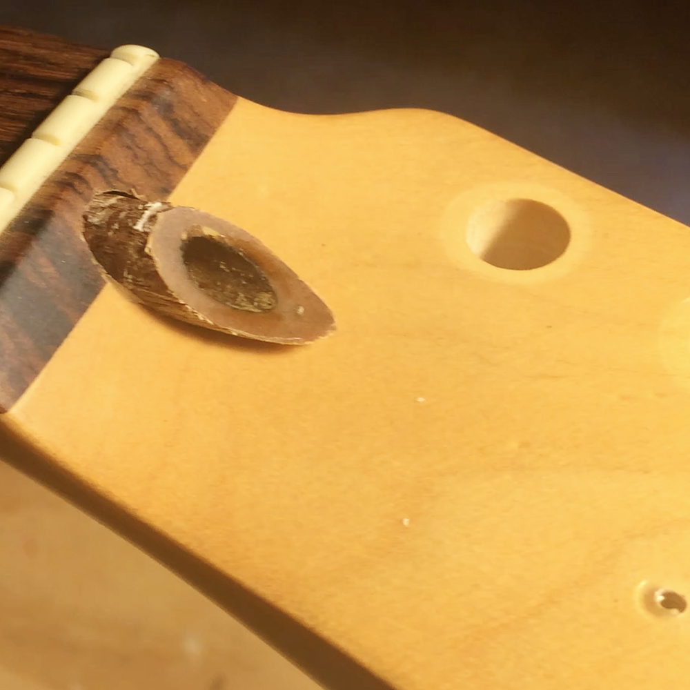 Eventually the nut will reach the end of the truss rod but, by then, the plug should protrude enough to grab.