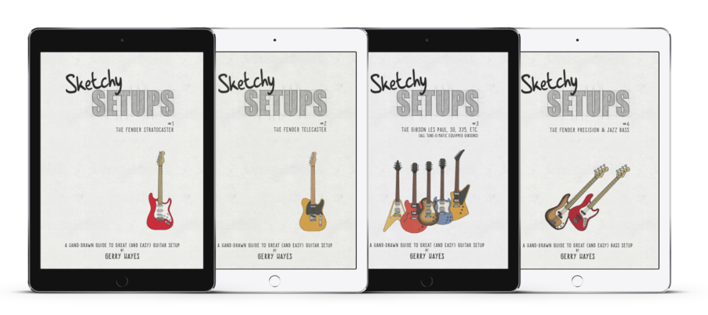 Sketchy Setups guides to guitar and bass setup for Strat, Tele, Les Paul, SG. 335, Explorer, Flying V, Fender P-Bass and J-Bass