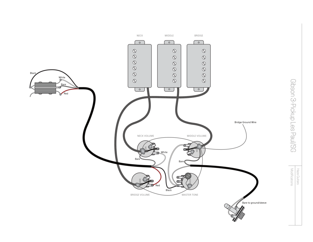 a more flexible 3 pickup gibson \u2014 haze guitars Les Paul Wiring Diagram Humbuckers Mighty Mite Pickups 3 pickup gibson les paul sg wiring modification for more flexibility with middle pickup